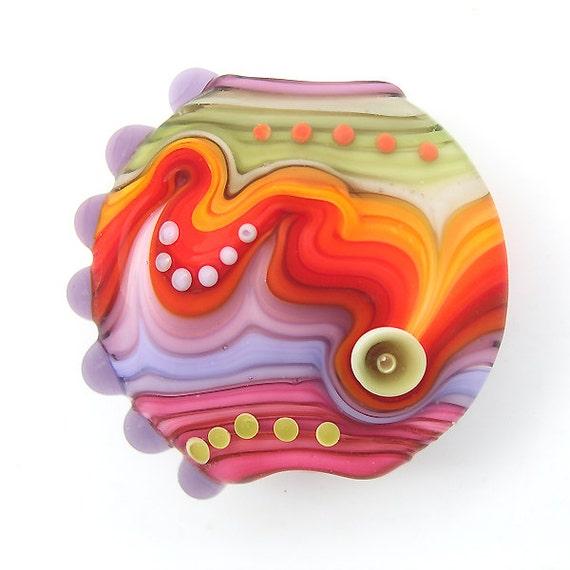 Handmade lampwork glass focal bead (1)Free worldwide shipping
