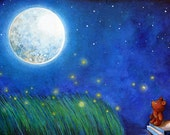 Twinkle Twinkle Little Star - Teddy Bear Decorative Kids or Nursery Room Art - Painting Print by Annya Kai