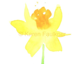 "Watercolor flower art print of a yellow daffodil:  ""Daffodil"""