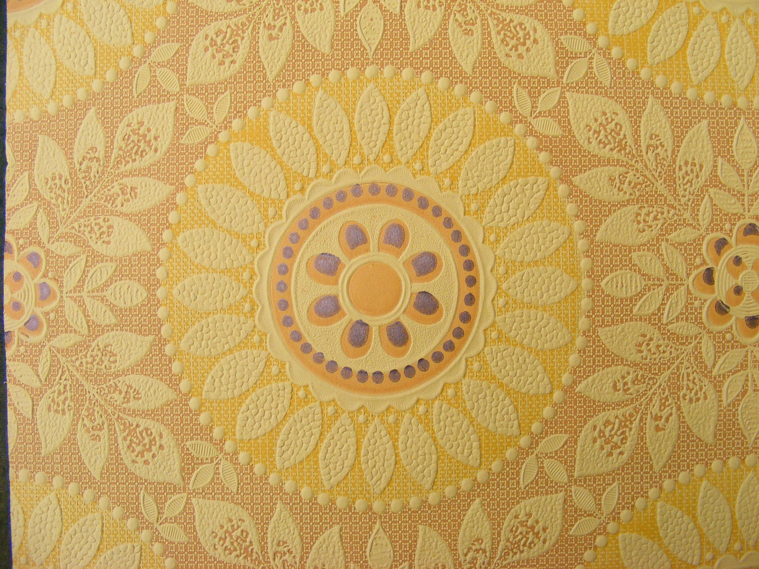 Vintage Wallpaper YELLOW Sun Flower Embossed Textured Paper