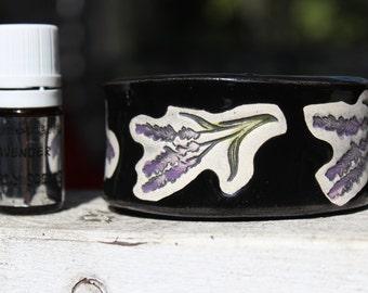 Lavender Scented Bracelet, Bangle or Cuff Size 6.25 in Black