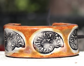 Ammonite Bracelet, Bangle or Cuff Size 6 in Brown