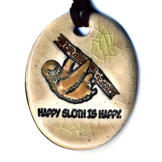 Happy Sloth is Happy Ceramic Necklace in Cream Crackle
