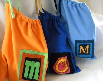 Mom Larger Initial Pouch ONE Letter upcycled repurposed t shirt sleeve Custom Choose COLORS