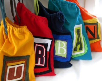 Urban Back to School Pouch ONE Custom initial Letter upcycled t shirt material Custom Choose COLORS