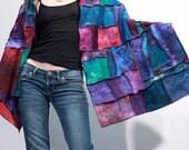 Druzy wrap in hand dyed cotton jersey patchwork tribal gypsy bohemian tie dye shawl