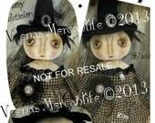 Witch Doll Primitive Pattern Instant Download PDF Halloween E Patterns E-Pattern Cloth Fabric Sewing Vintage Style Folk Art Kim Kohler
