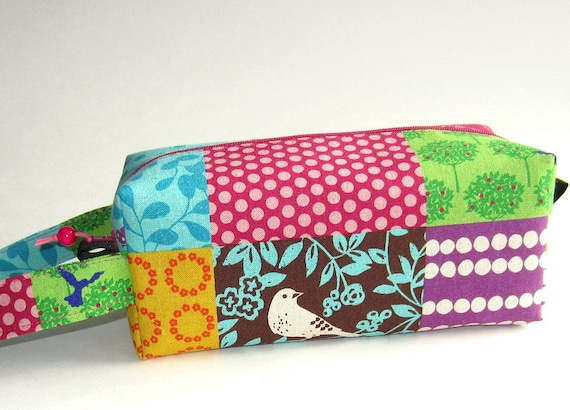 Boxy Bag Knitting Project Zippered Pouch - bright flowers and birds