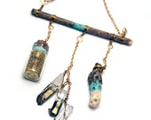 Gold & Mint Dipped Glitter, Coral, and Crystal Point Charm Necklace