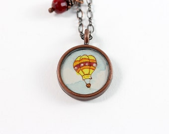 Little Hot Air Balloon No. 1 Hand Painted Necklace