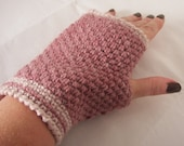 Shades of Pink fingerless gloves made with a soft machine washable wool blend yarn