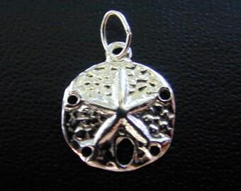 3 pcs - Sterling Silver Sand Dollar Charm  11mm