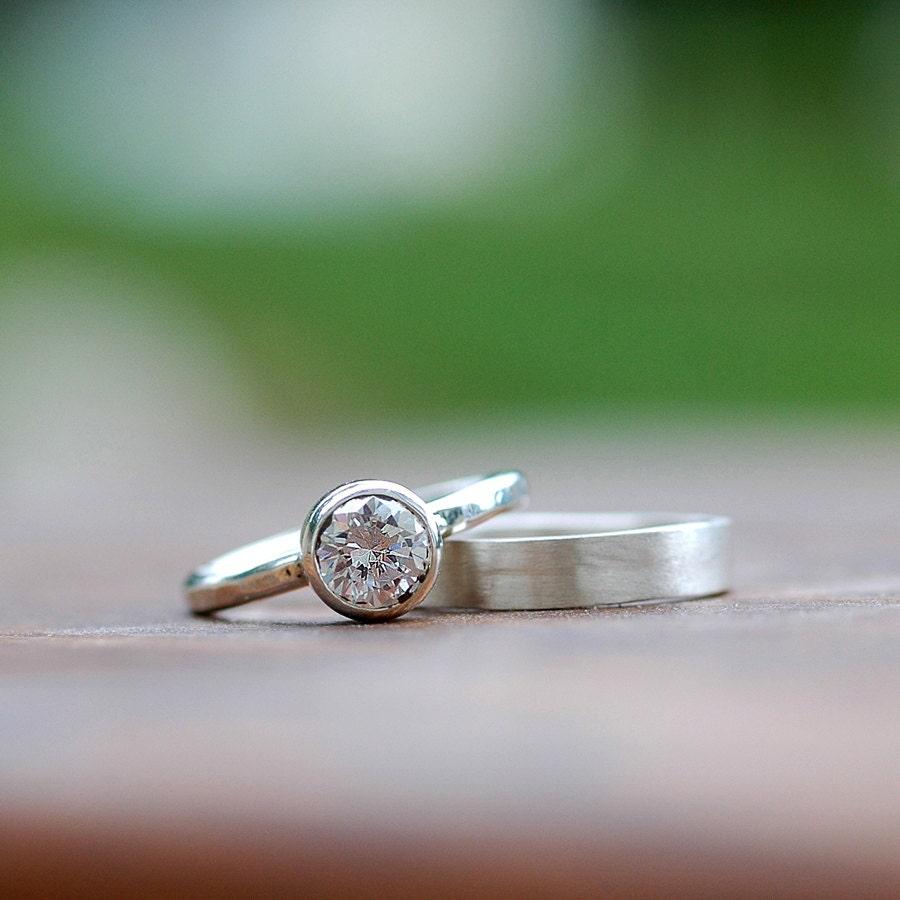Wedding ring set engagement ring wedding band bridal for Wedding band engagement ring order