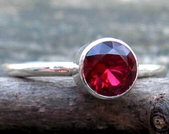 Garnet sterling silver ring