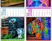 2013 Calendar desktop grafitti color spray can art urban Asheville art