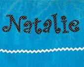 Personalized Large Turquoise Velour Beach Towel with Rick Rack or Ribbon, Personalized Towel, Camp Towel, Bath Towel, Bridal Party Gift