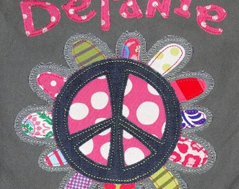 Personalized Canvas Field Bag in Color Smoke with Flower Peace Sign Applique, School Bag, Kids Travel Bag, Camp Bag, College Bag, Baby Bag