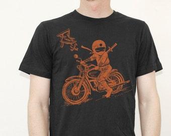 Men's Ninja motorcycle rider black with orange print T Shirt