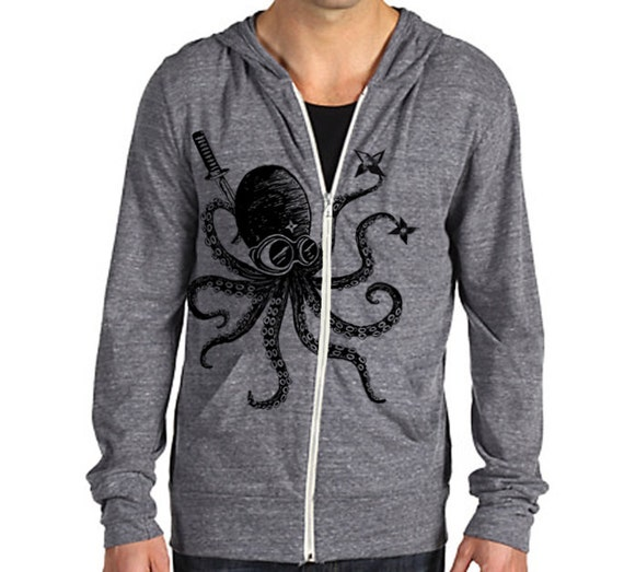 Ninja Octopus Eco Hether Zip Hoodie Heather gray