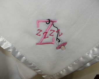 Plush Baby Blanket Zzz's with a Binky or Pacifier WHITE Blanket Embroidered with Pink Z's Ready to Ship