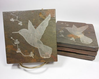 Stone Coasters: Hummingbird Coasters, 4 Etched Slate Coasters, Bird Coasters, Carved Slate Coasters, Natural Drink Coasters, Nature Coasters