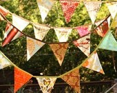 Harvest Bunting, Fabric Flag Banner, Fall Colors Surprise Decoration, Designer's Choice, 9 Large, Double Sided Flags in Festive Prints.