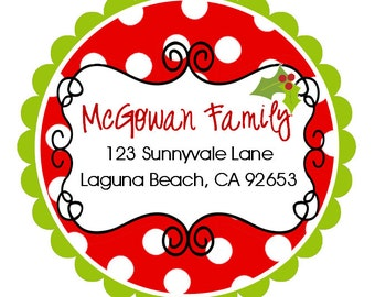 Personalized Christmas Polka Dot  Address Labels, Holiday, Children, Kids, Gift Tags, Party Favors - Set of 12