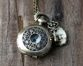 Custom Personalized Bronze Silver Photo Pocket Watch Necklace/Locket/Pendant - Customized with Your Photograph - Custom Gift for Wife, Mom