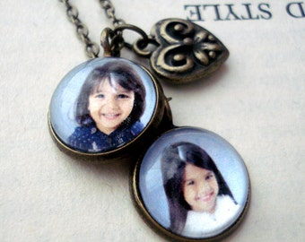 Mom, Best Friends BFF Necklace, 2 Layered Custom Photo Pendants - Antique Gold or Silver - Gift for Wife, Grandmother, Anniversary