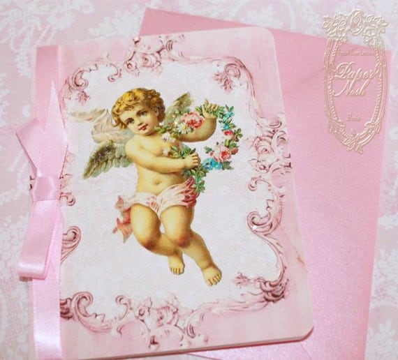 Baby Announcement, Christening, Angel or Cherub Invitations or Cards with Pink Shimmer Envelopes and Angel Seals Set of Six