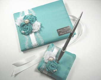 Personalized Wedding Guest Book and Pen Set in Robin's Egg Blue with Handmade Roses, Pearls, Rhinestones and Engraving