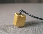 Vermeil Square Necklace, Vermeil Cube Necklace, Geometric Jewelry, Mixed Metal Necklace, Minimal Jewelry