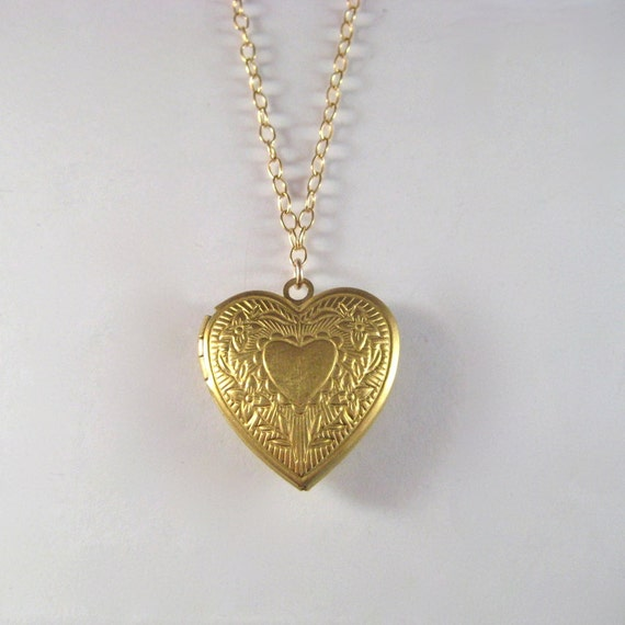 Heart Locket Necklace, Brass Locket Necklace, Gold Fill Chain Necklace, Romantic Floral Under 50