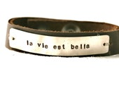 Life Is Beautiful French Bracelet...French...Shabby...Silver...Handstamped...Free Shipping