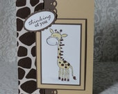 Thinking of you  - Giraffe Blank Note Card