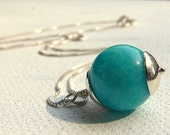Aqua blue Amazonite sterling silver necklace