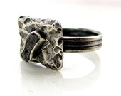 Handmade sterling silver raw gray genuine diamond ring adjustable band