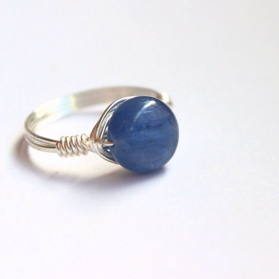 Blue stone ring, kyanite ring, wire wrapped silver ring, made to order, cornflower blue stone
