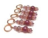 Knitting Stitch Markers Row Counters Purple and Copper