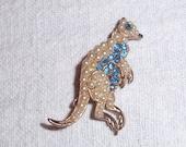 Kangaroo Figural Pin,Rhinestone Faux Pearls Retro Brooch,Get Your Hop ON