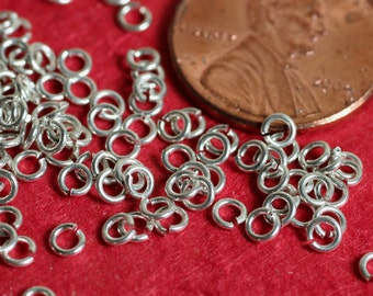 Jump ring silver plated on brass 2.5 mm outer diameter 22g thick, 100 pcs  (item ID SPJR3m22G)