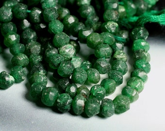 Emerald green aventurine faceted rondelle aprox 3mm, one 14-inch strand (item ID F9383SK)