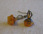 tangerine blossom flower earrings
