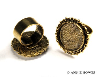 Gold Plated Ornate Ring Setting in Circle Shape. raolc-gb
