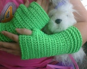 Adult or young girls Lime Green Fingerless gloves, small/ medium