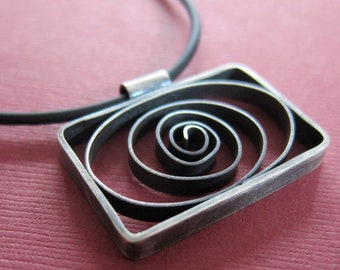 Hand fabricated, Oxidized Sterling Silver Oblong Spiral Pendant