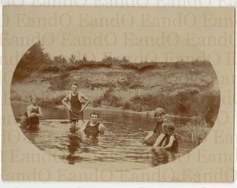 Antique Snapshot of Swimmers or Bathers Summer at a Lake Great Swimwear from 1914