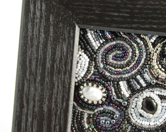 Midnight Whirl // Beaded Mixed Media // Art // Beaded Painting // Black and White // Seed Beads // Cabochons // Framed Art