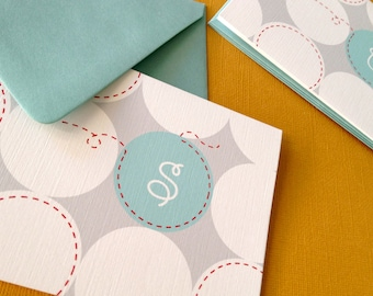 Personalized Initial- blue, set of 6 folded cards