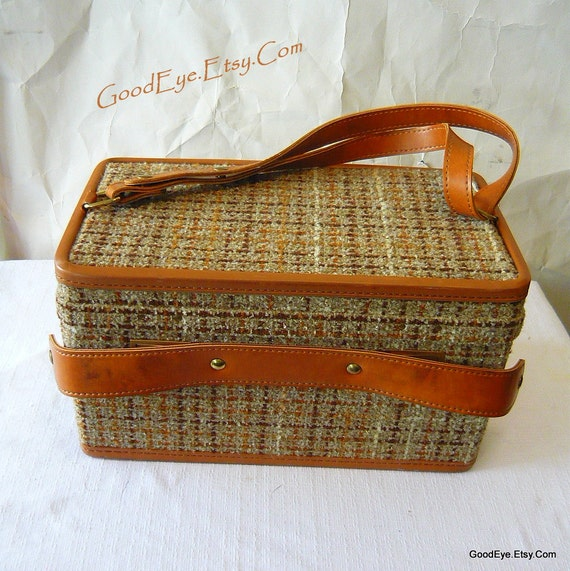 Lovely Tweed Hartmann Traincase Luggage Suitcase Cosmetic Bag